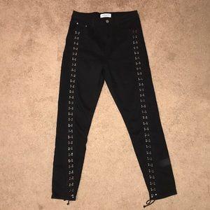 Denim - black lace up jeans